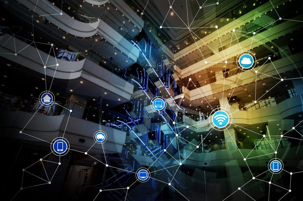 modern architecture interior and wireless communication network,